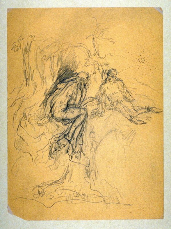 [Conversation with a forest sprite]- One from the Studies and Sketches for the Murals in the New Amsterdam Theatre, New York