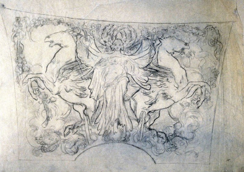 Central angel figure with flanking rearing horses. - One from the Studies and Sketches for the Murals in the New Amsterdam Theatre, New York