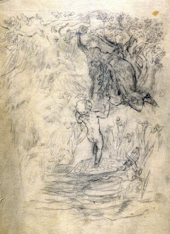 A naked boy child on the back of a giant turtlereaches up to a robed girl child hanging above him from a tree limb.- One from the Studies and Sketches for the Murals in the New Amsterdam Theatre, New York