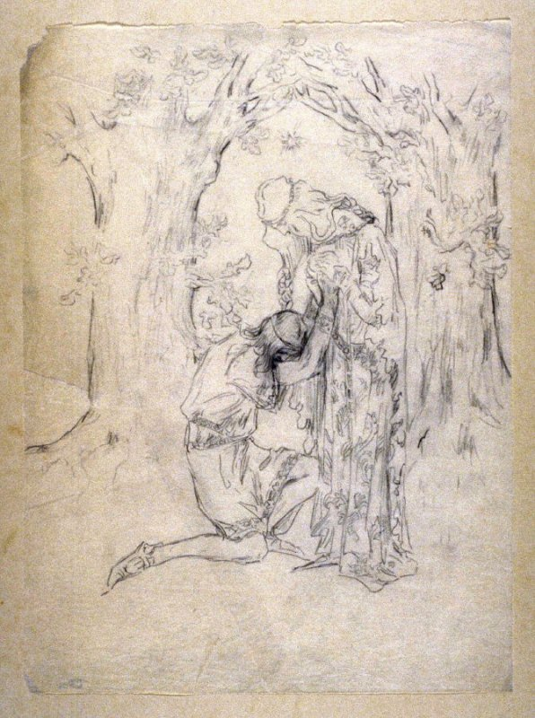 [lovers in the forest] - One from the Studies and Sketches for the Murals in the New Amsterdam Theatre, New York