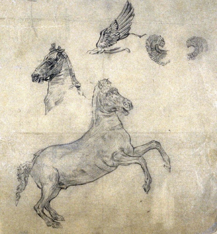 [Rearing horse -horses head - wing ]- One from the Studies and Sketches for the Murals in the New Amsterdam Theatre, New York
