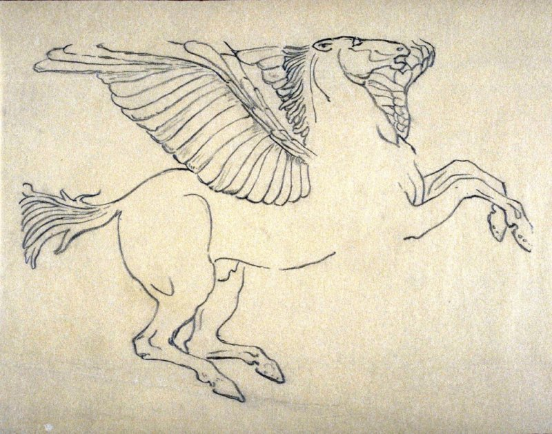 [winged horse ] - One from the Studies and Sketches for the Murals in the New Amsterdam Theatre, New York
