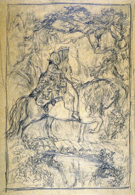 [A boy and a girl on horseback ] - One from the Studies and Sketches for the Murals in the New Amsterdam Theatre, New York
