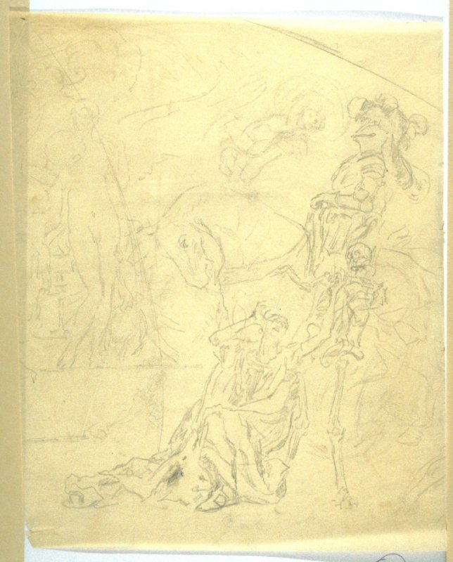 [Knight in armor on horse] - One from the Studies and Sketches for the Murals in the New Amsterdam Theatre, New York