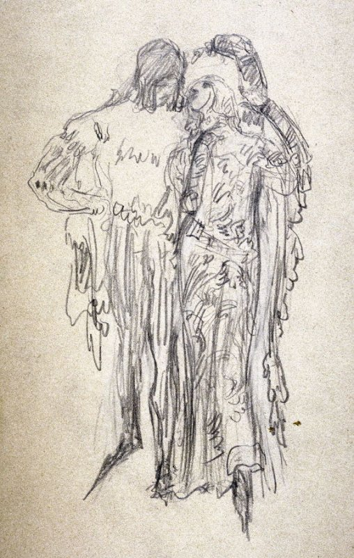 [Couple in medieval dress] - One from the Studies and Sketches for the Murals in the New Amsterdam Theatre, New York