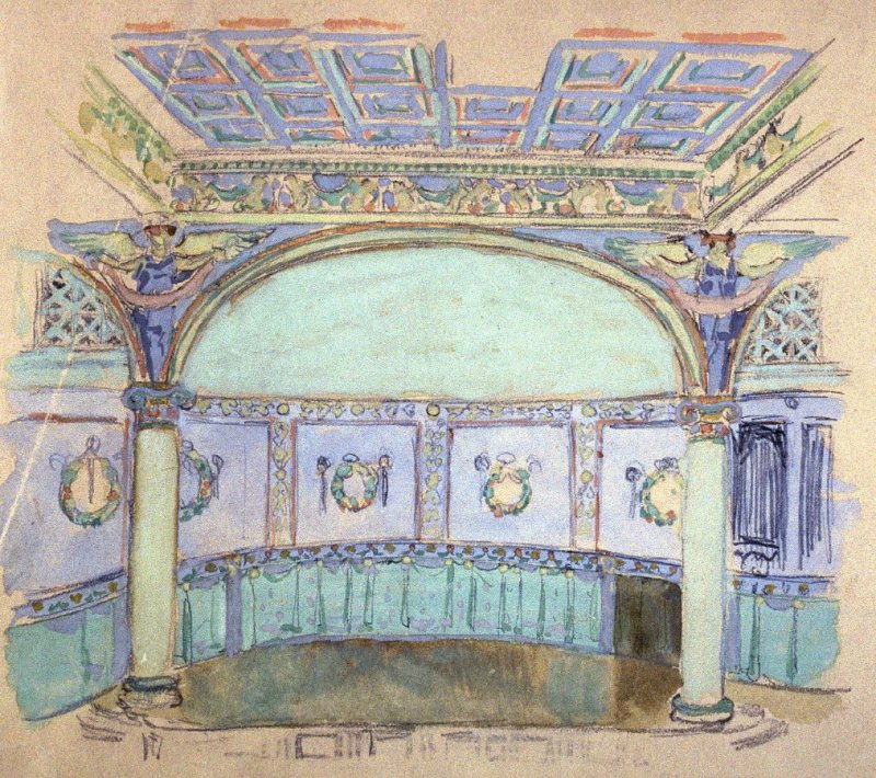 [Architectural sketch] - One from the Studies and Sketches for the Murals in the New Amsterdam Theatre, New York