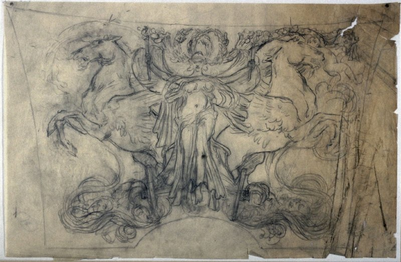 [Classical goddess with two horses ] - One from the Studies and Sketches for the Murals in the New Amsterdam Theatre, New York