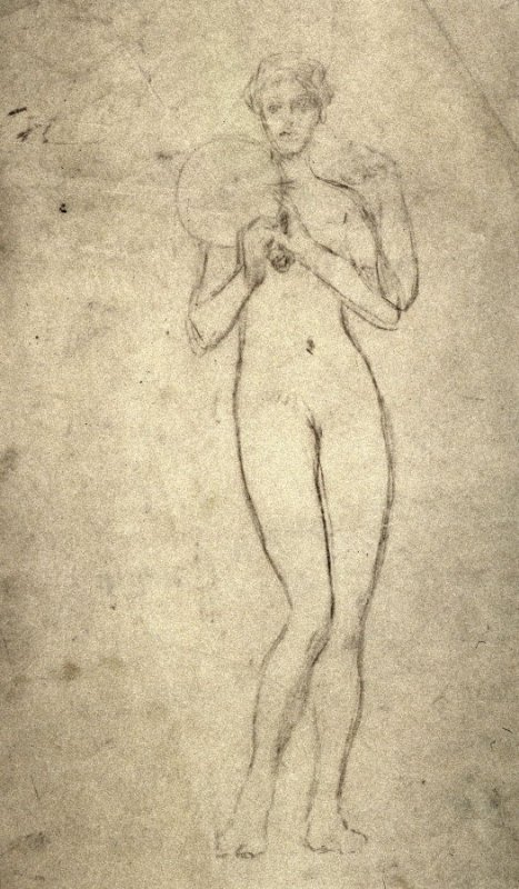 [Female nude holding a mirror] - One from the Studies and Sketches for the Murals in the New Amsterdam Theatre, New York