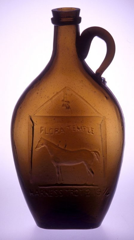 Flask olive-amber, with trotting horse