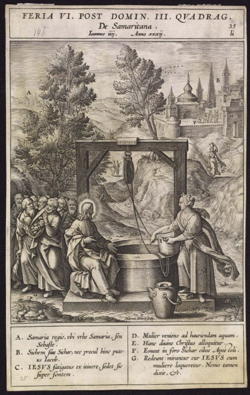 Christ and the Samaritan Woman, plate 35 from P. Jeronimo Nadal, Evangelicae Historiea Imagines (Antwerp, 1593)