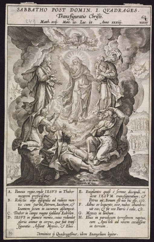 The Transfiguration of Christ, plate 63 from P. Jeronimo Nadal, Evangelicae Historiea Imagines (Antwerp, 1593)