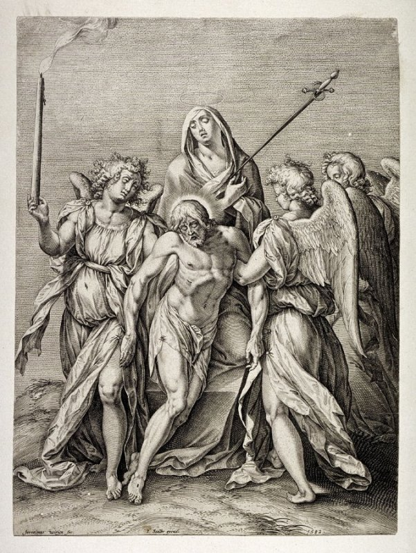 [Christ carried by two angels]