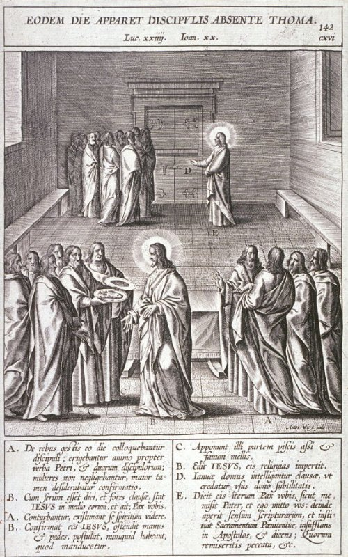 Christ Appearing to the Apostles, plate 142 from P. Jeronimo Nadal, Evangelicae Historiea Imagines (Antwerp, 1593)