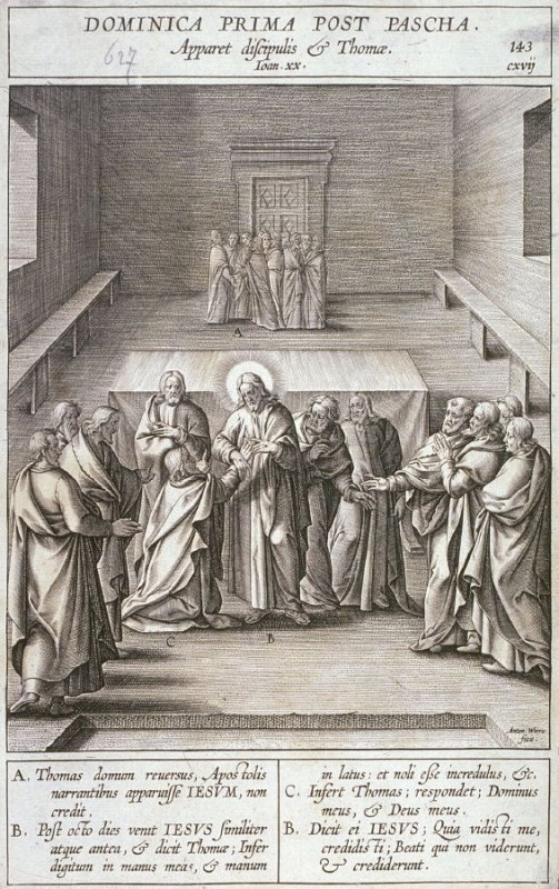 The Incredulity of Thomas, plate 143 from P. Jeronimo Nadal, Evangelicae Historiea Imagines (Antwerp, 1593)