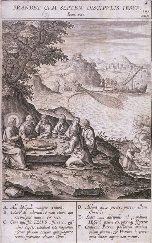 Christ Having a Meal at the Sea of Tiberias, plate 145 from P. Jeronimo Nadal, Evangelicae Historiea Imagines (Antwerp, 1593)