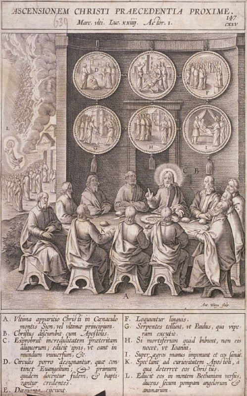 Christ Appearing to the Apostles for the Last Time, plate 147 from P. Jeronimo Nadal, Evangelicae Historiea Imagines (Antwerp, 1593)