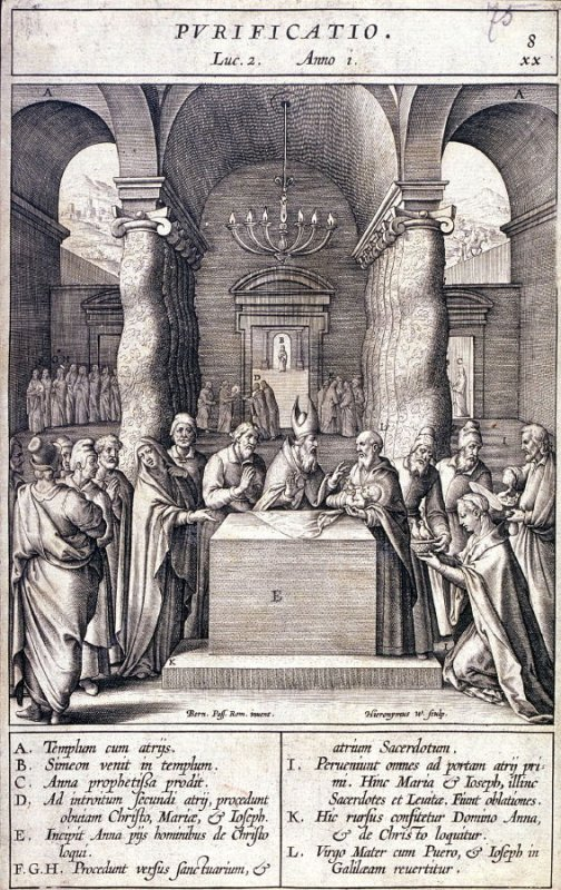 The Presentation in the Temple, plate 8 from P. Jeronimo Nadal, Evangelicae Historiea Imagines (Antwerp, 1593)