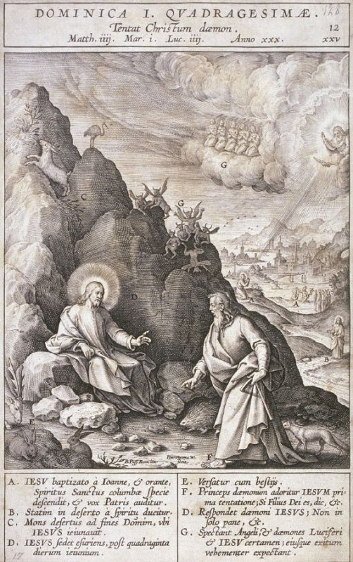 The First Temptation in the Wilderness, plate 12 from P. Jeronimo Nadal, Evangelicae Historiea Imagines (Antwerp, 1593)