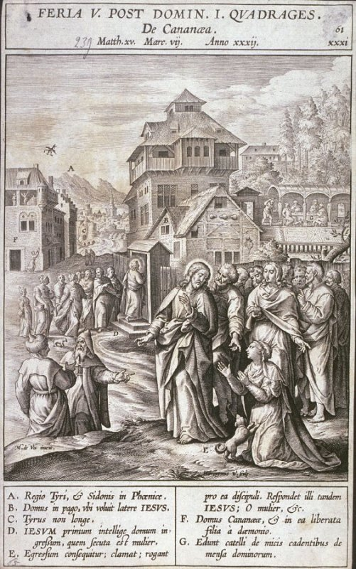 Christ and the Woman from Canaan, plate 61 from P. Jeronimo Nadal, Evangelicae Historiea Imagines (Antwerp, 1593)