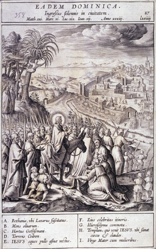 Christ's Entry into Jerusalem, plate 87 from P. Jeronimo Nadal, Evangelicae Historiea Imagines (Antwerp, 1593)