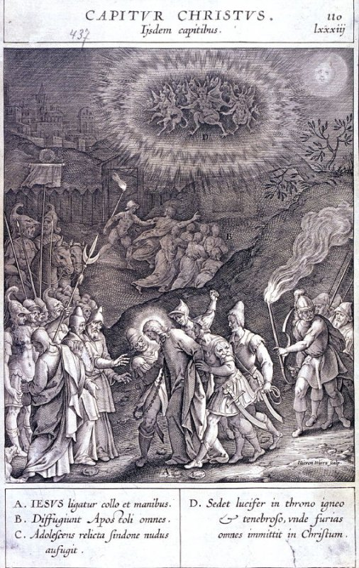 The Arrest of Christ, plate 110 from P. Jeronimo Nadal, Evangelicae Historiea Imagines (Antwerp, 1593)