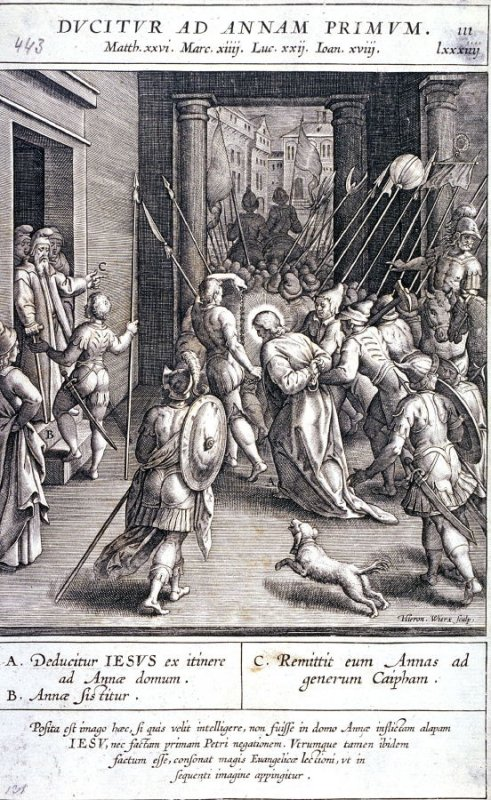 Christ Taken to the High Priest Annas, plate 111 from P. Jeronimo Nadal, Evangelicae Historiea Imagines (Antwerp, 1593)
