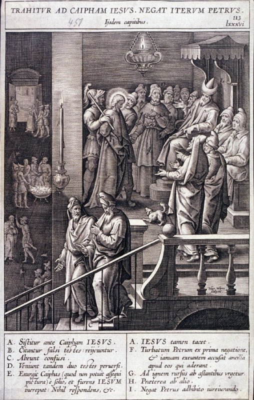 Christ Taken Before Caiaphas; Peter Denies Christ, plate 113 from P. Jeronimo Nadal, Evangelicae Historiea Imagines (Antwerp, 1593)