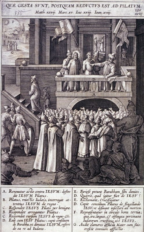 Christ and Pilate Before the People, plate 120 from P. Jeronimo Nadal, Evangelicae Historiea Imagines (Antwerp, 1593)