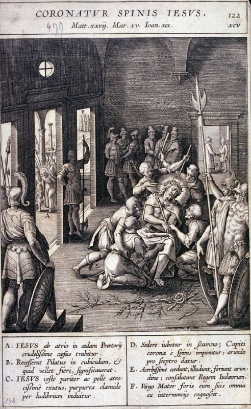 The Mocking of Christ and the Crowning with Thorns, plate 122 from P. Jeronimo Nadal, Evangelicae Historiea Imagines (Antwerp, 1593)