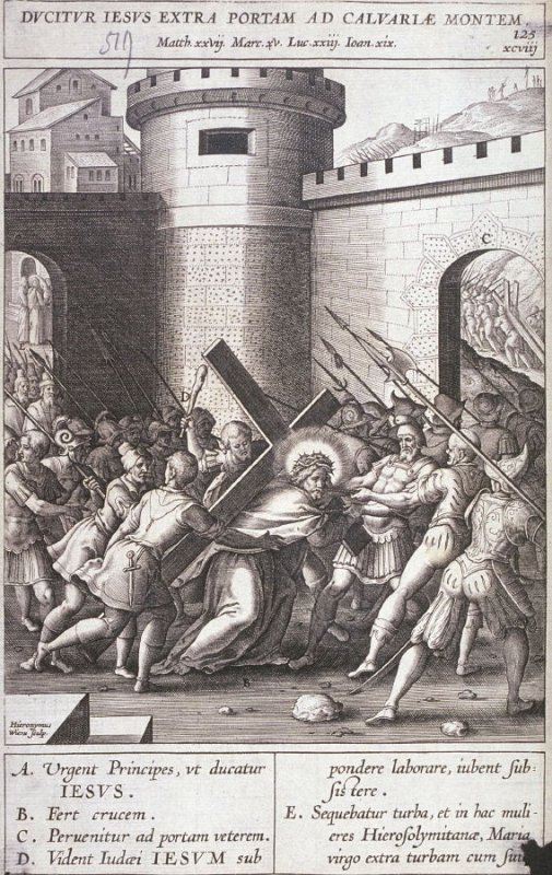 Christ Carrying the Cross, plate 125 from P. Jeronimo Nadal, Evangelicae Historiea Imagines (Antwerp, 1593)