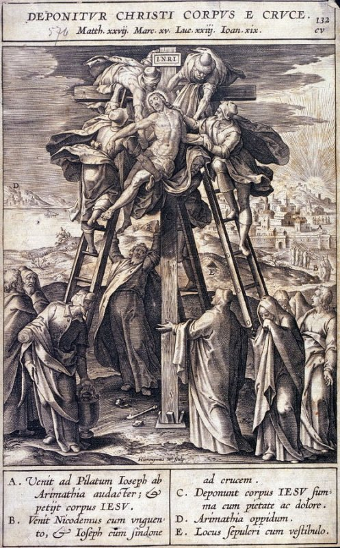The Descent from the Cross, plate 132 from P. Jeronimo Nadal, Evangelicae Historiea Imagines (Antwerp, 1593)