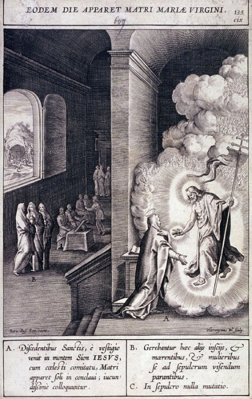 Christ Appearing Before the Virgin, plate 135 from P. Jeronimo Nadal, Evangelicae Historiea Imagines (Antwerp, 1593)