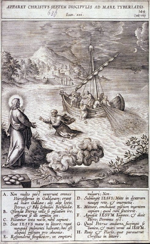 Christ Appearing at the Sea of Tiberias, plate 144 from P. Jeronimo Nadal, Evangelicae Historiea Imagines (Antwerp, 1593)