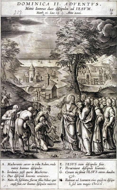 Christ Answering the Messenger of St. John, plate 32 from P. Jeronimo Nadal, Evangelicae Historiea Imagines (Antwerp, 1593)