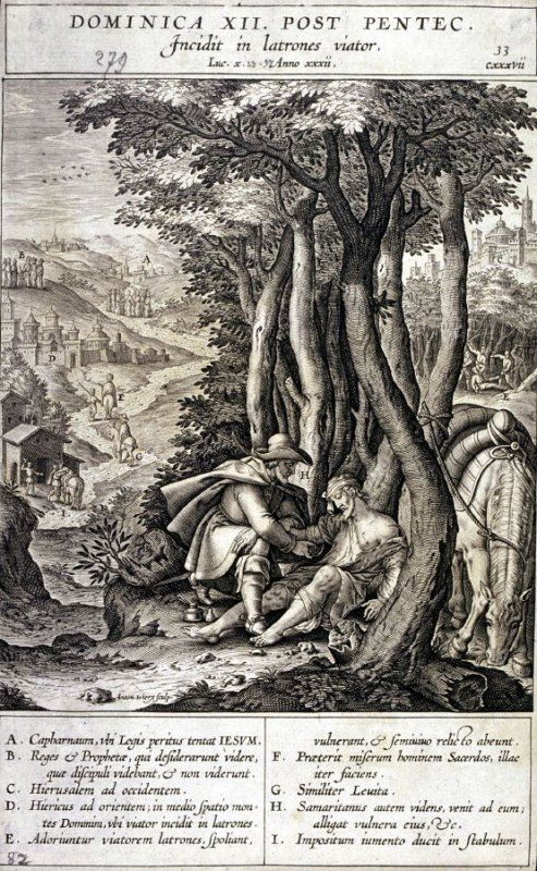 The Samaritan Taking Care of the Wounds of the Traveller, plate 33 from P. Jeronimo Nadal, Evangelicae Historiea Imagines (Antwerp, 1593)
