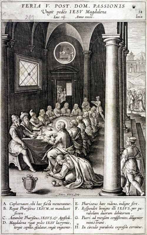 Mary Magdalen Anointing Christ's Feet, plate 34 from P. Jeronimo Nadal, Evangelicae Historiea Imagines (Antwerp, 1593)
