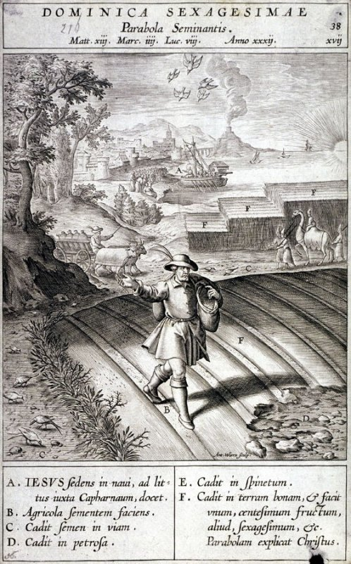 The Parable of the Sower, plate 38 from P. Jeronimo Nadal, Evangelicae Historiea Imagines (Antwerp, 1593)