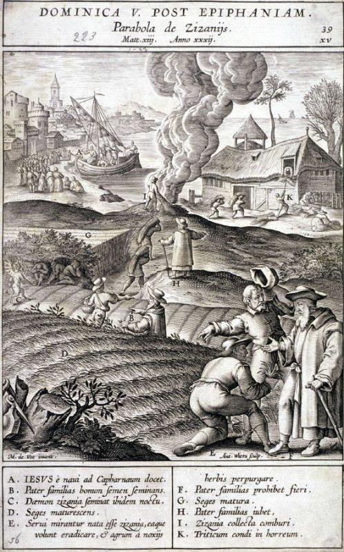 The Parable of the Wheat and the Tares, plate 39 from P. Jeronimo Nadal, Evangelicae Historiea Imagines (Antwerp, 1593)