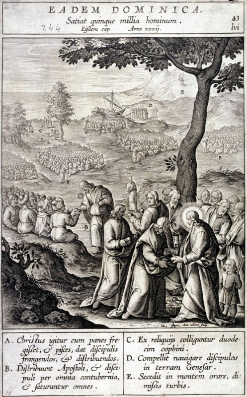 The Second Miraculous Feeding, plate 43 from P. Jeronimo Nadal, Evangelicae Historiea Imagines (Antwerp, 1593)