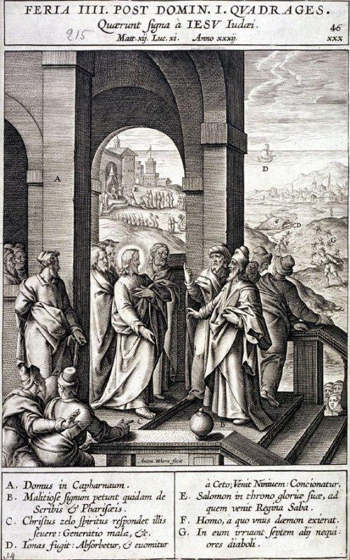 The Jews Seek a Sign from Christ, plate 46 from P. Jeronimo Nadal, Evangelicae Historiea Imagines (Antwerp, 1593)