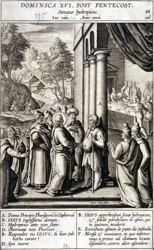 Christ Healing a Man with Dropsy on Sabbath, plate 48 from P. Jeronimo Nadal, Evangelicae Historiea Imagines (Antwerp, 1593)
