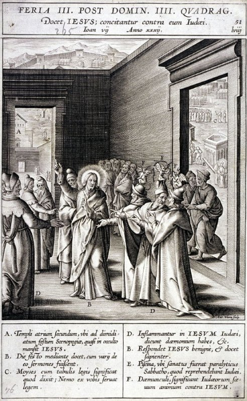 Christ Teaching in the Temple, plate 51 from P. Jeronimo Nadal, Evangelicae Historiea Imagines (Antwerp, 1593)