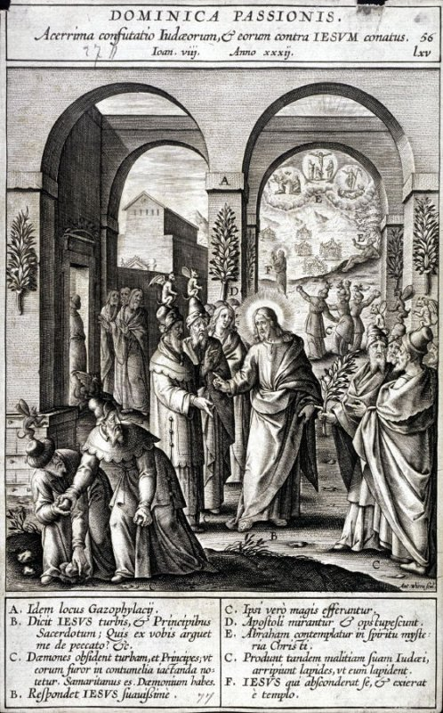 The Pharisees Preparing to Stone Christ, plate 56 from P. Jeronimo Nadal, Evangelicae Historiea Imagines (Antwerp, 1593)