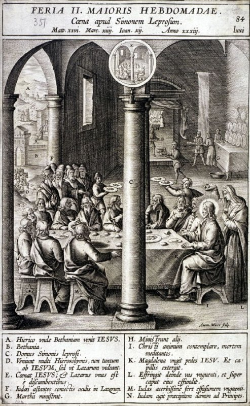 The Meal with Simon the Leper, plate 84 from P. Jeronimo Nadal, Evangelicae Historiea Imagines (Antwerp, 1593)