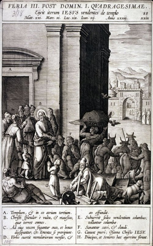 The Cleansing of the Temple, plate 88 from P. Jeronimo Nadal, Evangelicae Historiea Imagines (Antwerp, 1593)
