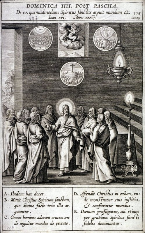 Christ Announcing the Coming of the Holy Spirit, plate 105 from P. Jeronimo Nadal, Evangelicae Historiea Imagines (Antwerp, 1593)