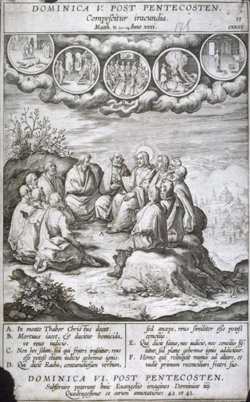 The Sermon on the Mount, plate 19 from P. Jeronimo Nadal, Evangelicae Historiea Imagines (Antwerp, 1593)