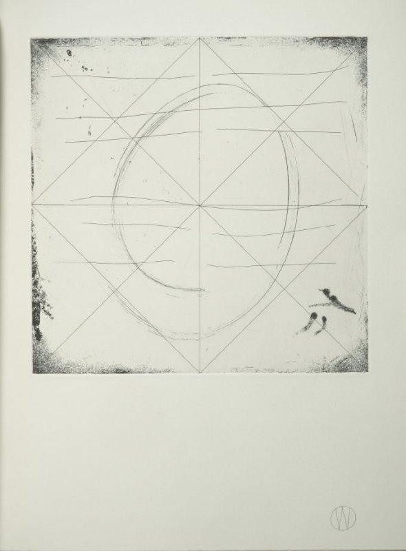 """""""Chin/Well"""" (plate no. 4) in the book A Suite of Daze by William T. Wiley (Chicago: Landfall Press Inc., 1977)."""