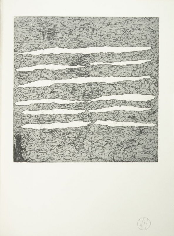 """""""Chin/Progress"""" (plate no. 10) in the book A Suite of Daze by William T. Wiley (Chicago: Landfall Press Inc., 1977)."""