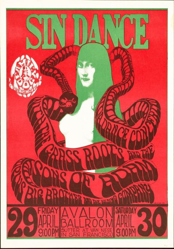 """Sin Dance,"" Grass Roots, Sons of Adam,  Big Brother & the Holding Company, May 29 & 30, Avalon Ballroom"
